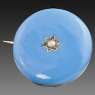 Antique Victorian 14 Karat Gold, Blue Enamel And Pearl Pin/Pendant
