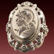 Vintage Sterling Silver Intaglio Ring