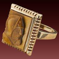 Antique 10 Karat Gold Tiger Eye Cameo Ring