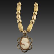 Vintage Art Deco Shell Cameo Necklace