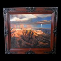 Texas Afternoon Thunderstorm at Big Bend ~ Southwest Red Rock Desert Landscape Original Oil on Canvas Large Painting