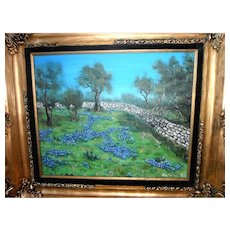 Texas Bluebonnet Painting ~ Original Oil Painting by John Walters (1987) Texas Hill Country Scene of Blue Bonnets and Stone Wall