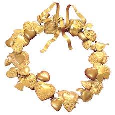 Vintage Valentine Brass Petit Choses Cupid Heart Wreath Dresden Victorian Style Hearts