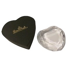 Rosenthal Signed Lead Crystal Glass Heart Paperweight in Rosenthal Black Heart Box