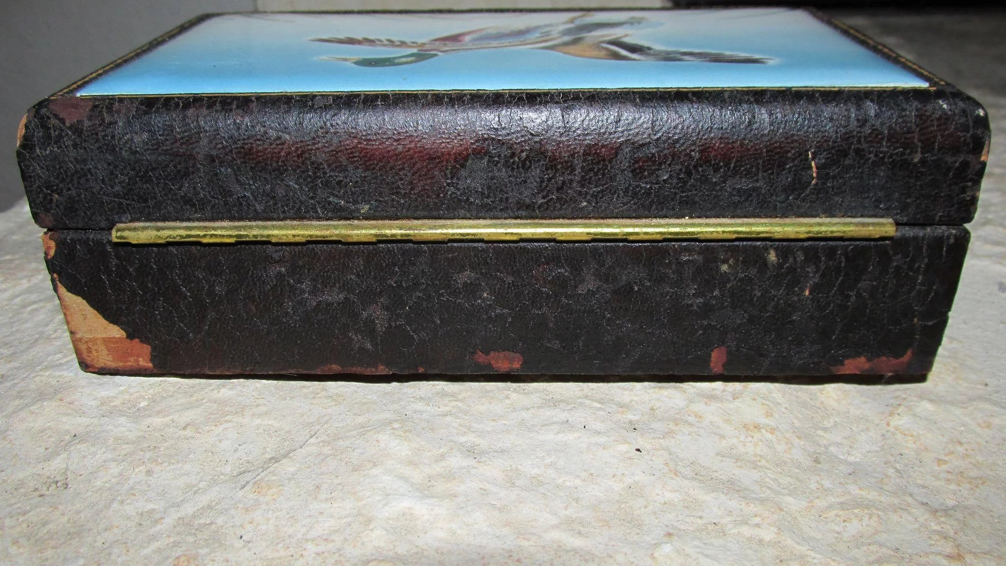 vintage anton zaic signed and dated 1947 leather covered wooden box