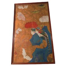 Antique 18th Century Chinoiserie Chinese Hand Painted Wall Paper Asian Birds, Lotus and assorted Flowers