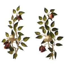 S. Salvadori Firenze Exquisite! Hand Painted Italian Tole Romantic Rose Wall Sconces Vintage MidCentury Collectible Candleholders