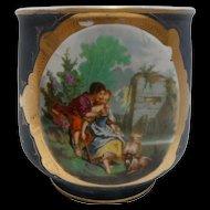 Antique Porcelain French Jardiniere - Cache Pot Romantic Scene