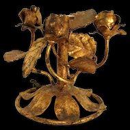 Vintage Italian Gilt Mid-Century Decorative Collectible Rose Piece