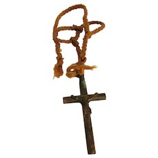 Amazing! Antique Copper Pectoral Crucifix Whistle with Original Hand Plaited Cord