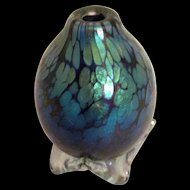 Exquisite! Iridescent Footed Art Glass Bottle by California Artist Steven Bradshaw Signed & Dated 1993