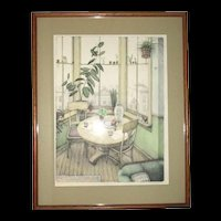 "Susan Hunt Wulkowicz ""Window Garden"" Hand Colored Lithograph 30"" x 19"" Number 79/250 Signed and Dated 1980"