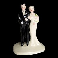 Vintage Bride & Bride Groom Wedding Cake Topper
