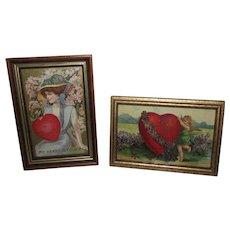 Enchanting Pair of Framed True Vintage Valentine's