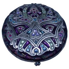 Jay Strongwater ~ Exquisite Swarovski Crystal Guilloche Enamel Art Deco Style Compact Mirror