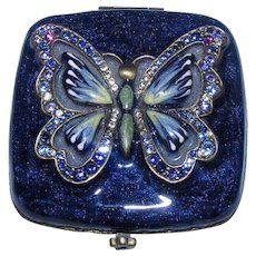 Jay Strongwater ~ Stunning Swarovski Crystal Jewelled Guilloche Enameled Butterfly Compact
