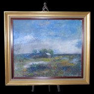 Texas Hill Country Early Impressionist Large Folk Art Oil Pastel Painting Metal Roofed Homestead & Bluebonnet Landscape
