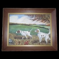 Vintage Mid-Century Folk Art Original Painting of Two Pointer Hunting Sporting Dogs signed by the Artist