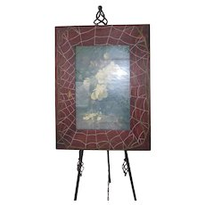 Antique Arts and Crafts Movement ~ Large Hand Carved Wooden Spider Web Picture Frame with Rose Print