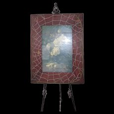 Antique Arts and Crafts Movement ~ Large Hand Carved Wooden Spider Web Picture Frame with Rose Print - Red Tag Sale Item