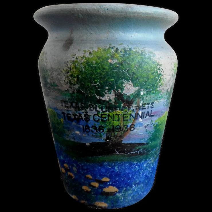 Texas Bluebonnets Texas Centennial 1836 1936 Meyer Pottery Vase