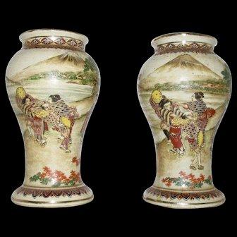 Vintage Japanese Hand Painted Satsuma Vases with Geisha & Mt. Fuji