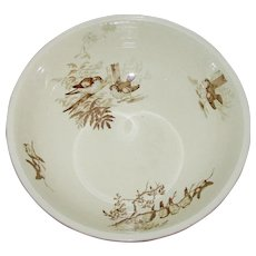 Antique Brown Transferware Bird Bowl by Petrus Regout circa 1860-1890 impressed R mark - Plata 14 1/2""