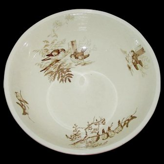 "Antique Brown Transferware Bird Bowl by Petrus Regout circa 1860-1890 impressed R mark - Plata 14 1/2"""