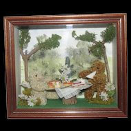 """Vintage Miniature Teddy Bears """"Country Folk"""" Shadow Box Diorama Handmade in The Cotswolds"""