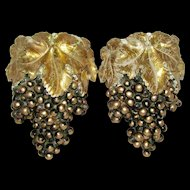 Vintage Mid Century Italian Gold Leaf Black Grape Cluster Plaster of Paris Wall Pockets