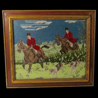 Vintage Fox Hunting Scene Framed Crewel Wool Embroidery Lexington, Kentucky Estate Find Signed Jean Dreifus