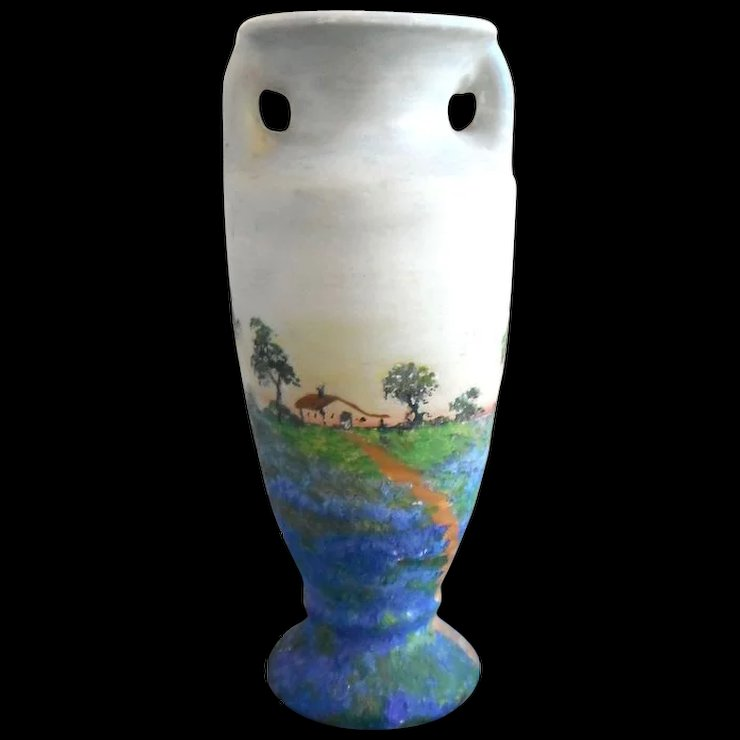 Texas Bluebonnet Hand Painted Vase By Meyer Pottery Texas Hill