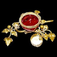 Antique French La Belle Epoque Cranberry Glass Gilt Ormolu Birds Nest Dresser Trinket Jewelry holder