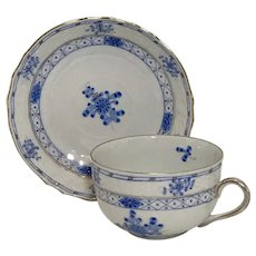 Vintage Herend Blue Garden Flat Tea Cup and Saucer Set