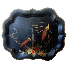Vintage Large Hand Painted Tin Toleware Tray Enchanting Floral Scene of Birds on Fountain