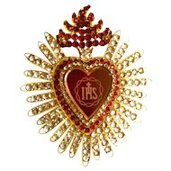 "LARGE Antique Nineteenth Century Sacred Heart Candle Shade Ornament ""IHS"""