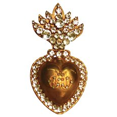 Antique Nineteenth Century Gilded Brass Sacred Heart Ex Voto Reliquary with Strass/Glass Stones