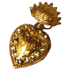 Antique Nineteenth Century Gilded Brass Sacred Heart Reliquary Ex Voto