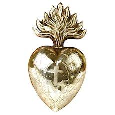 LARGE Antique Nineteenth Century Silver Sacred Heart Ex Voto Reliquary