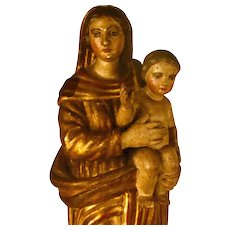 Exceptional 18th Century Painted and Gilded Carved Wooden Statue: Madonna and Child