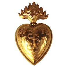 Antique Nineteenth Century French Sacred Flaming Heart Reliquary Ex Voto