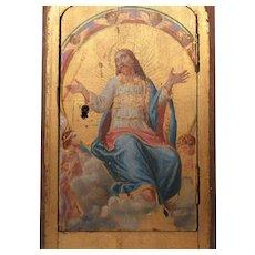 Fine Religious Antique Nineteenth Century Gilded Painted Wooden Tabernacle Door