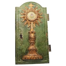 Antique Religious Eighteenth Century French Carved and Painted Oak Tabernacle Door