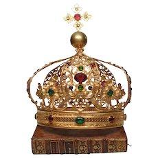 Spectacular Antique Nineteenth Century LARGE Gilded Bronze Brass Santos Royal Crown