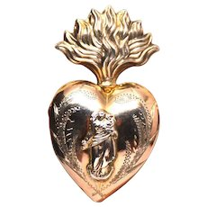 Antique Nineteenth Century French Vermeil Sacred Flaming Heart Reliquary Ex Voto
