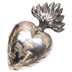 Gorgeous Large French Silver Sacred Heart Ex Voto Reliquary