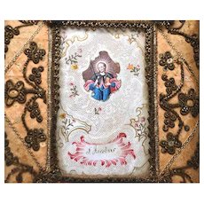 RARE Antique Eighteenth Century Silk Framed Monastery Work Reliquary/Ex Voto Saint Jacobus