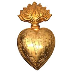 Antique Nineteenth Century French Gilded Brass Sacred Flaming Heart Ex Voto