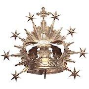 Rare Antique Nineteenth Century Belgian Silvered Santos Halo Crown