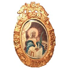 Antique Eighteenth Century Framed Silk Religious Embroidery, St. Catherine of Alexandria